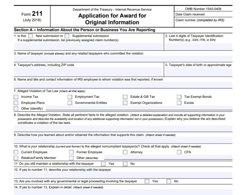Form 211 tax whistleblower award application