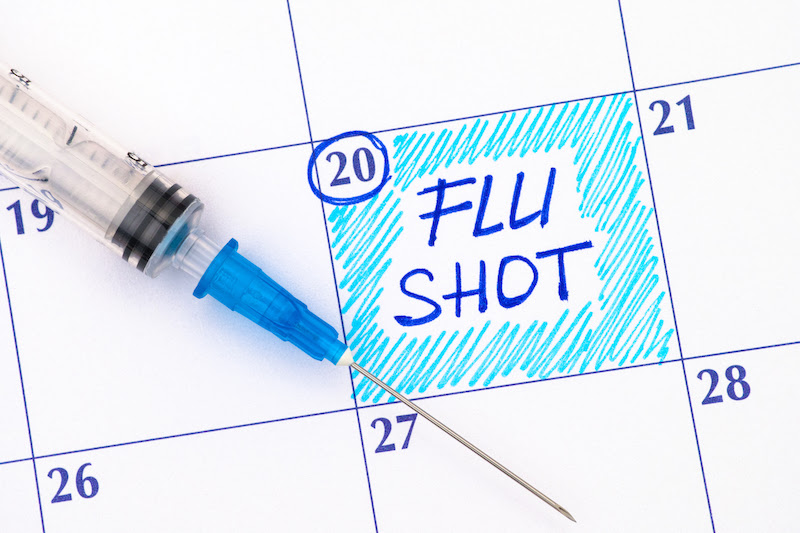 Flu shot reminder on calendar