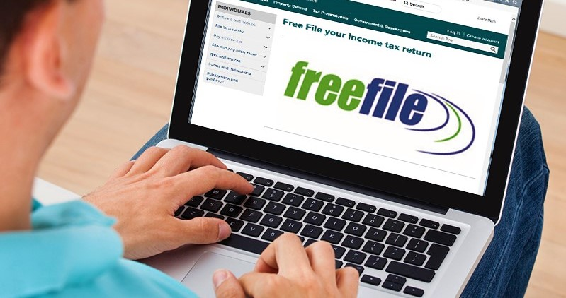 Free File screen on taxpayer laptop