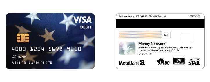 Covid-19 prepaid debit card front and back images