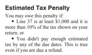 Estimated tax penalty 1040 instructions TY2020-cropped