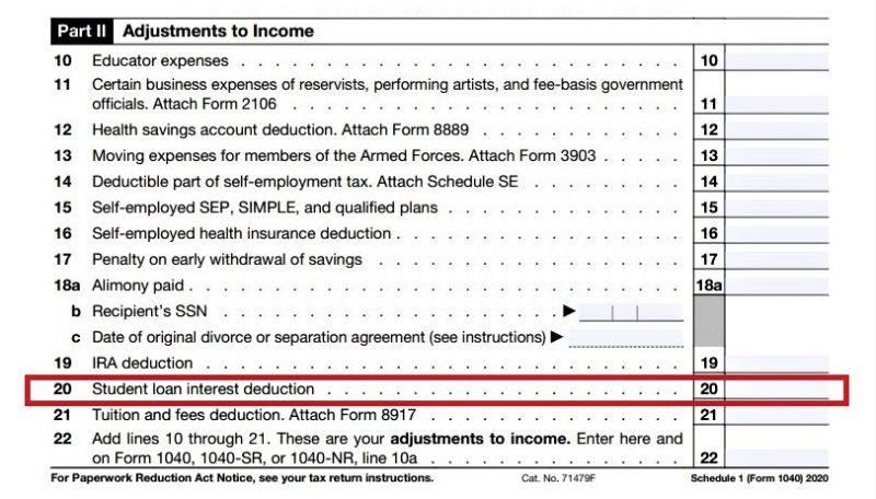 Form 1040 Schedule 1 Adjustments to Income_student loan interest