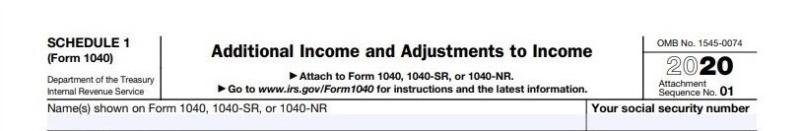 Form 1040 Schedule 1 tax year 2020 header