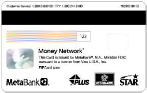 Covid-19 prepaid debit card back image only