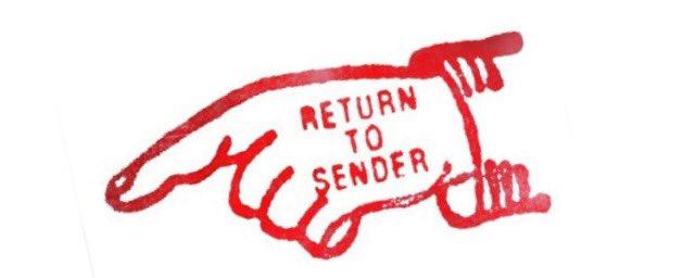 Return to sender postal stamp
