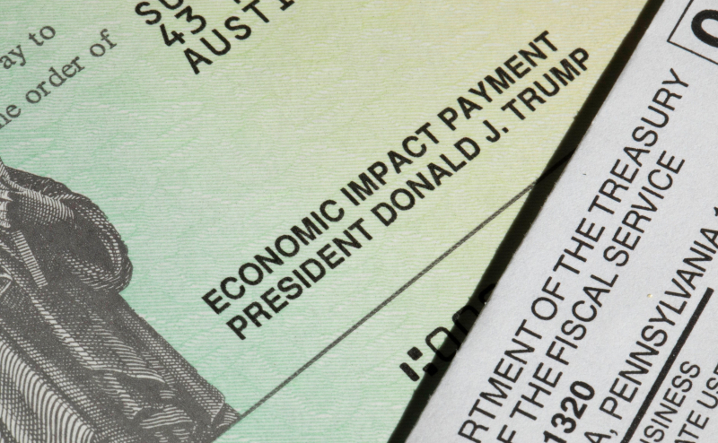 Trump signature on COVID relief payment check closeup2