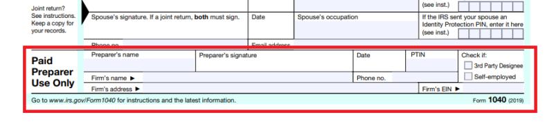 Assinante do preparador de imposto pago e seção PTIN_Formulário 1040