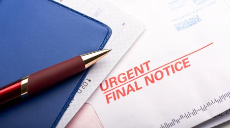 Past due bill final notice checkbook