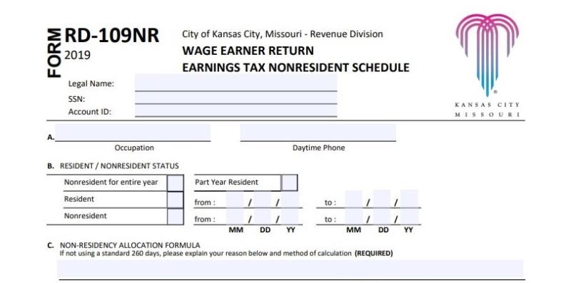 KC Form RD-109NR reembolso de imposto de emprego na cidade