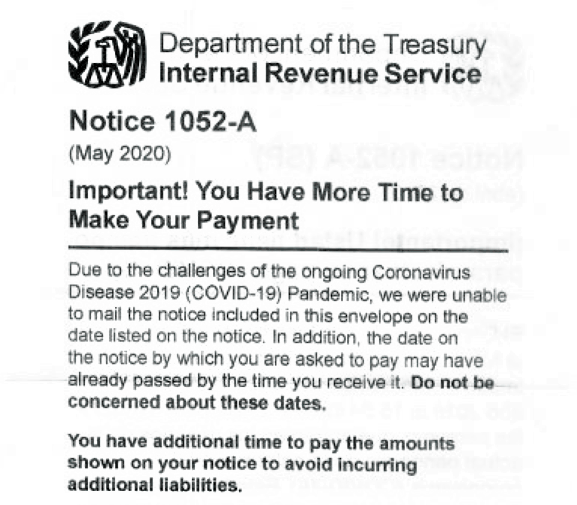 IRS Notice 1052-A insert_late mailed COVID19 notice insert_cropped