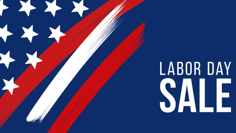 Labor day sale flag stars stripes motif