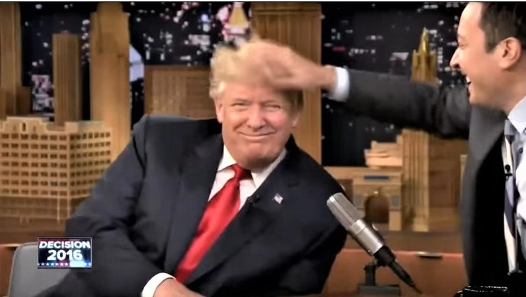 Jimmy Fallon tousles Donald Trump hair Tonight Show Sept 15 2016