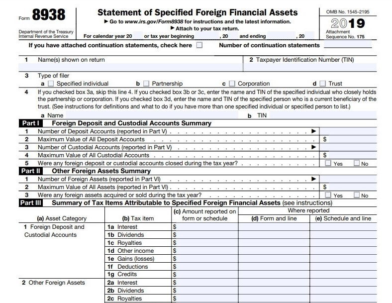 IRS Form 8938 foreign assets filing