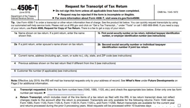 Form 4506-T excerpt