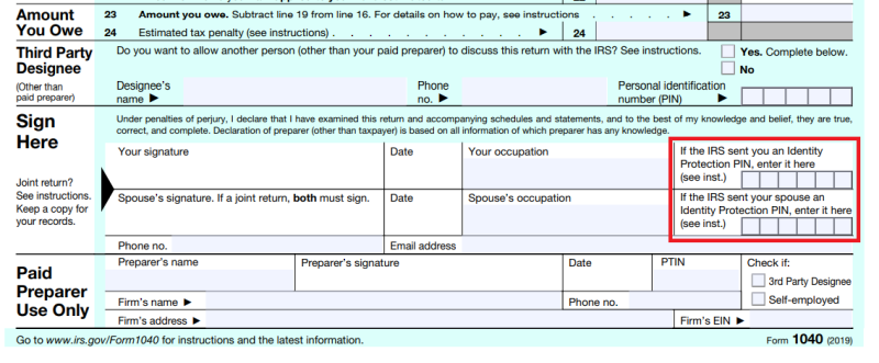 IP PIN area on Form 1040