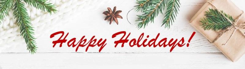 Happy holidays greenery presents