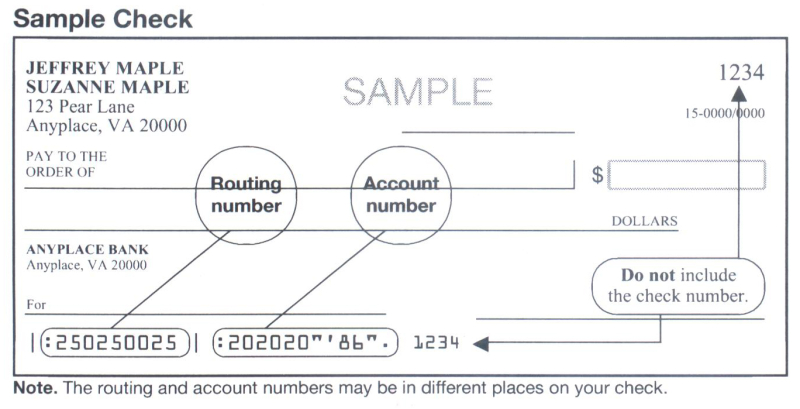 IRS check sample for bank and routing number locations