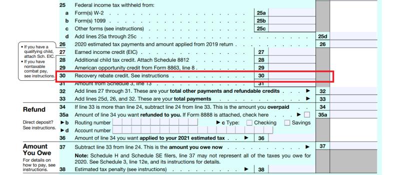 Form 1040 ty2020 COVID EIP rebate claim line 30_excerpt