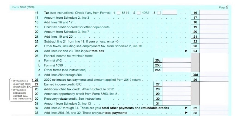 Form 1040 tax year 2020_page 2 top