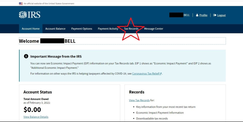 Irs online account status update page