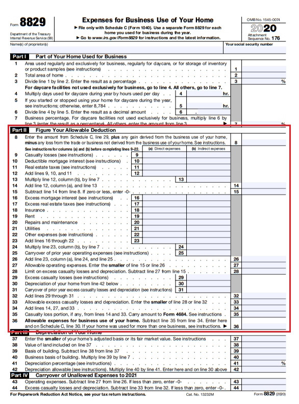 Form 8829 home office deduction TY 2020 (2)
