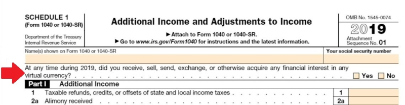 Form 1040 schedule 1 cryptocurrency question