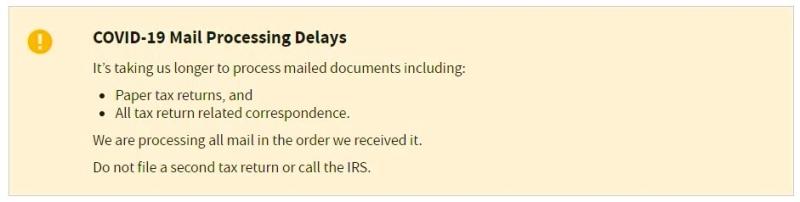 IRS refund processing delay notice