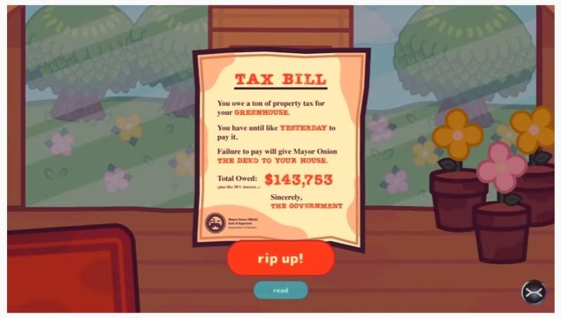 Turnip Boy tax bill-screenshot