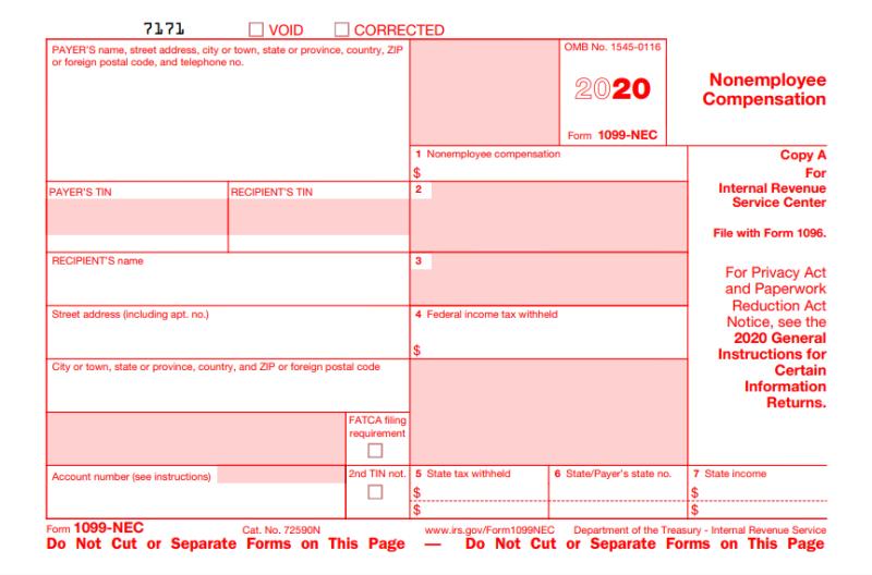 1099-NEC tax year 2020
