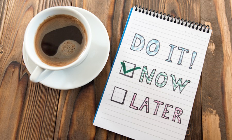 To do now list notepad cup of coffee