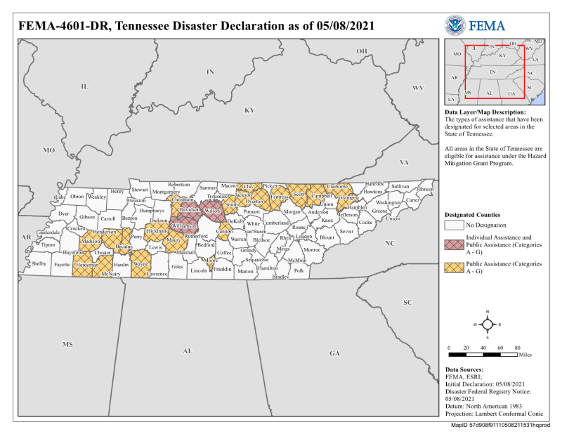 Tennessee FEMA major disaster ares declaration 4601 map May 8 2021