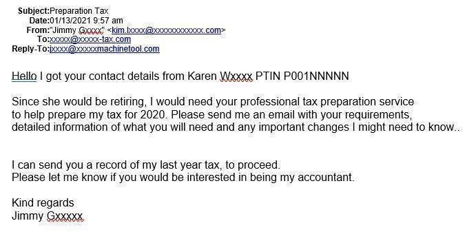 Tax pro PTIN scam email_IRS example
