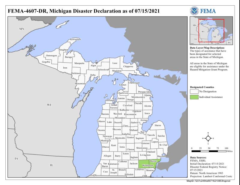Michigan FEMA disaster declaration 4607_June 2021 storms