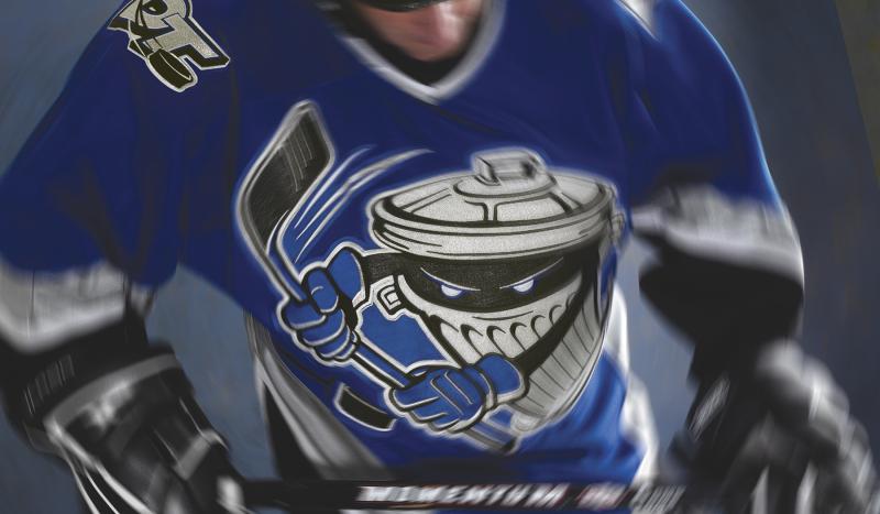 Danbury ct trashers minor league hockey team logo on player sweater