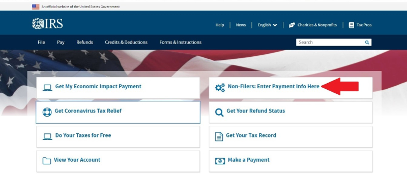 Irs home page arrow non-filers payment link