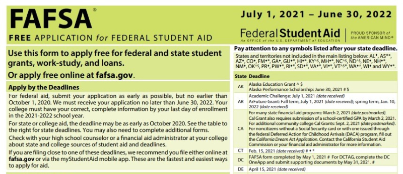 FAFSA application excerpt for July 1 2021 - June 30 2022 cropped
