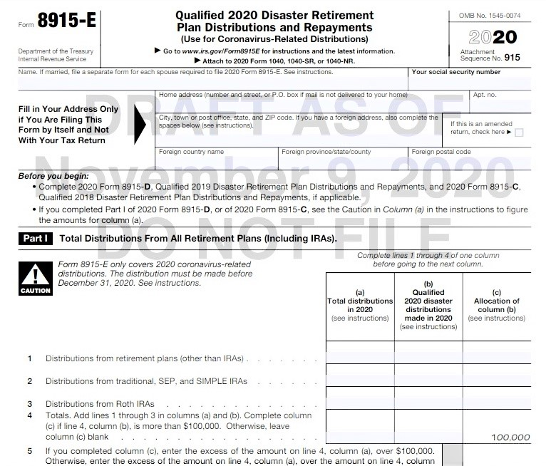 Form 8915-E COVID-19 retirement plan distribution