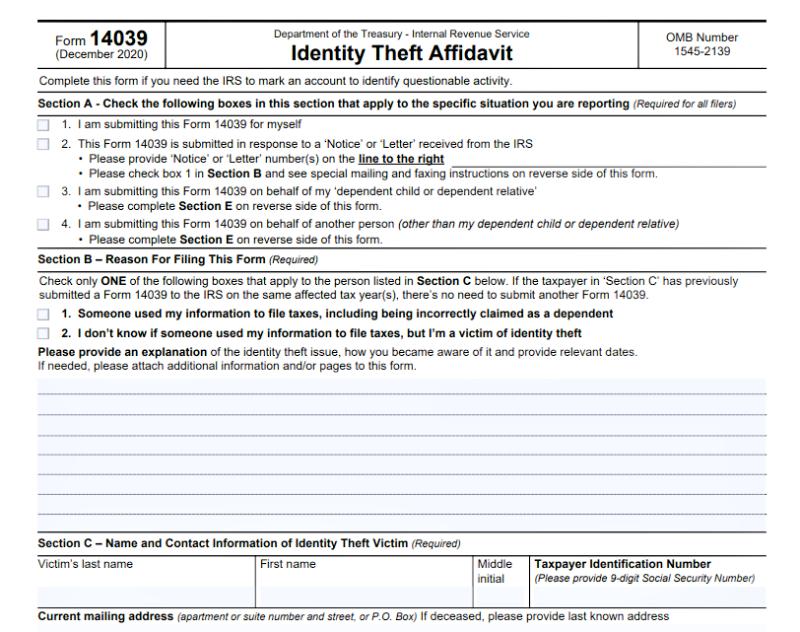 Form 14039 IRS identity theft affidavit