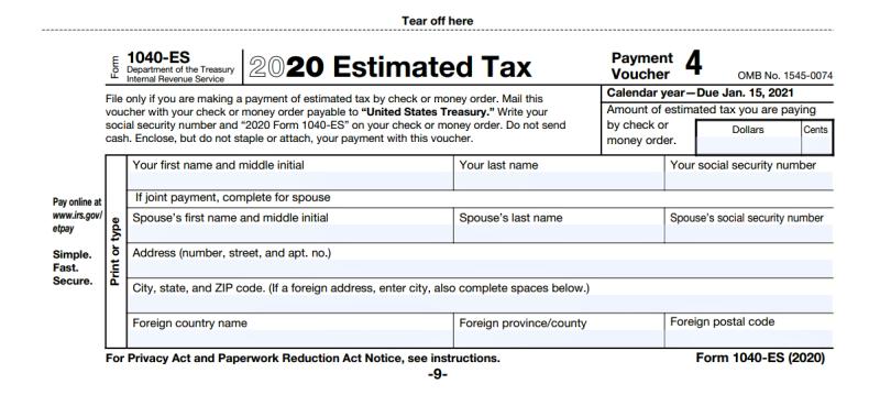 Form 1040-ES estimated tax payment voucher 4 due Jan 15 2021