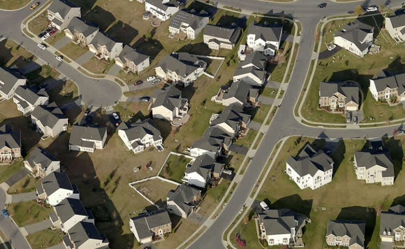 An aerial view of a neighborhood captured by Pictometry