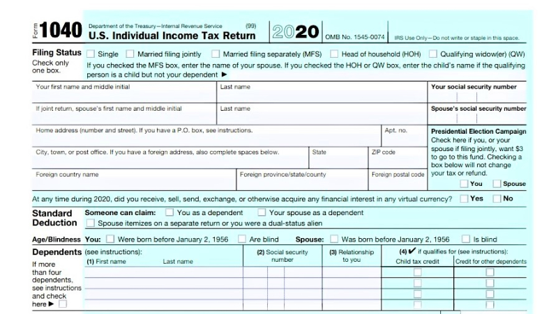 Form 1040 tax year 2020_page 1 top