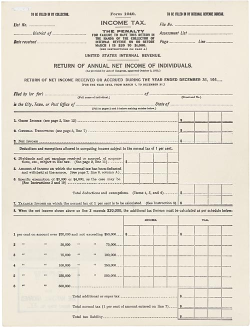 1913 income tax form