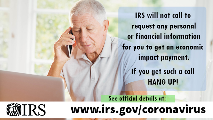 COVID scam warning graphic from IRS