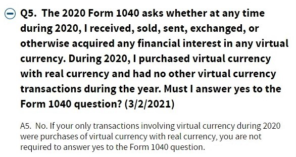 IRS FAQs re cryptocurrency 030221 checkbox update