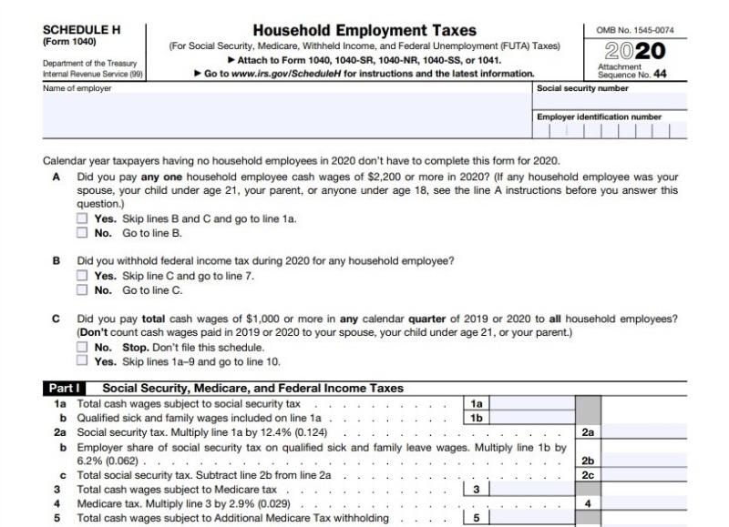 Schedule H Form 1040 attachment