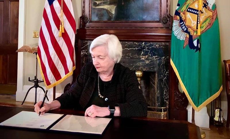 Treasury Secretary Janet Yellen at her desk_Facebook photo-cropped