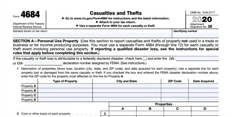 Form 4684 Casualty and Theft losses IRS form