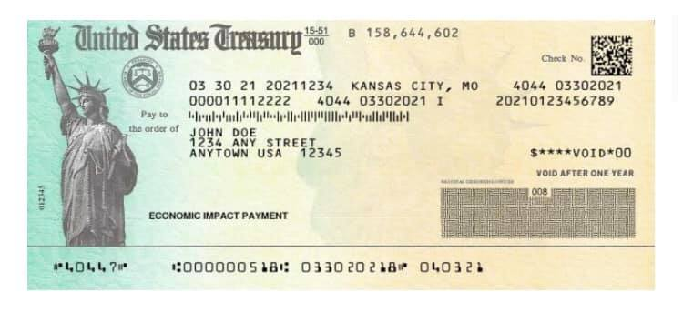 March 30 2021 EIP treasury check