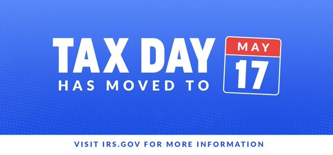 Tax Day May 17 notice
