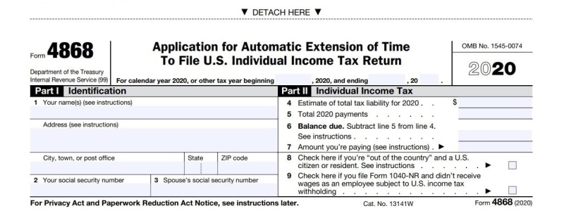 Form 4868 filing extension 2020